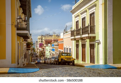 Colorful houses and street of Old San Juan, Puerto Rico