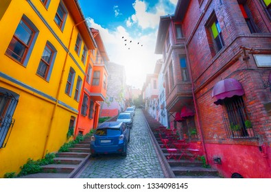 Colorful houses, colorful streets. Balat streets. Balat, Istanbul.