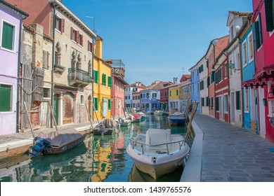 Colorful houses in the streets of burano island Venice