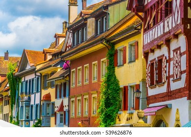 Colorful houses in the swiss town Stein am Rhein