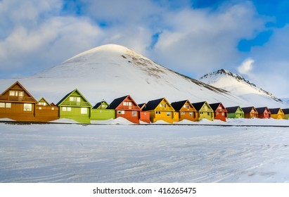 The colorful houses of the town of Longyearbyen, the largest settlement and the administrative center of Svalbard, Norway