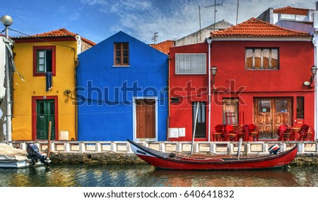 Colorful houses and typical boats in Aveiro, Portugal