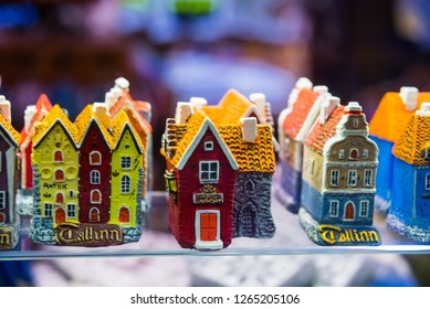 Colorful houses. View of traditional Tallinn Souvenirs miniature toys of the old town in the souvenir shop of the Old town, Estonia, Tallinn
