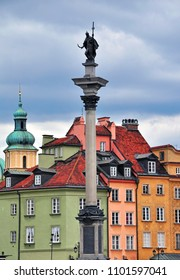 Colorful houses of Warsaw historical center, cityscape of capital of Poland