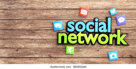 """Colorful icons around """"social network"""" text on a wooden table. Empty space on the left."""
