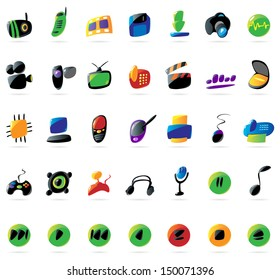Colorful icons for electronic devices and music. Raster version.