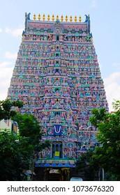 Colorful idols on the Gopuram, Sarangapani Temple, Kumbakonam, Tamil Nadu, India.