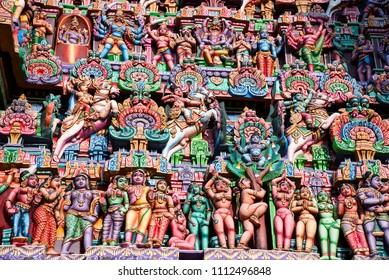 Colorful idols on the Gopuram, Sarangapani Temple, Kumbakonam, Tamil Nadu, India. It is one among the three major shrines of Lord Vishnu. Renovated during the period of Nayaka Kingdom of 16th century