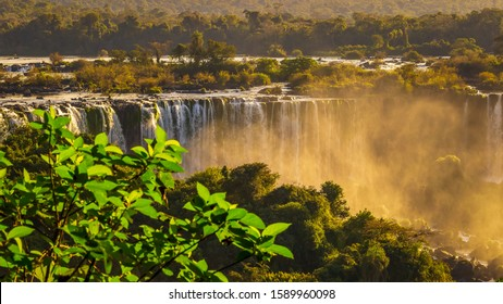 Colorful Iguazu Waterfall - Cataratas do Iguasu, Brasil (UNESCO World Heritage) on Argentina Paraguay Parana River Border