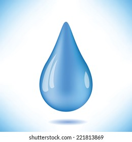 colorful illustration with blue water drop on  a white background