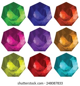 colorful illustration  with brilliant cut gems on white  background