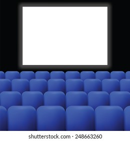 colorful illustration  cinema with blue curtain on dark background