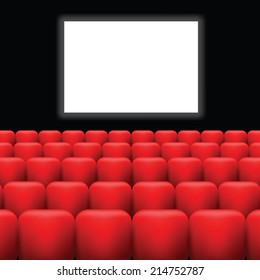 colorful illustration with cinema screen  and red seats on a dark background