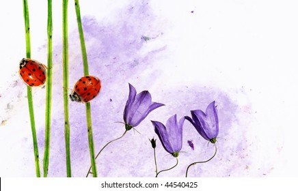 colorful illustration with floral elements and ladybird. useful design element.