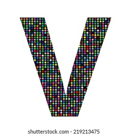 colorful illustration with multicolor letter V on  a white background
