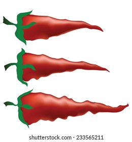 colorful illustration with red peppers on white background