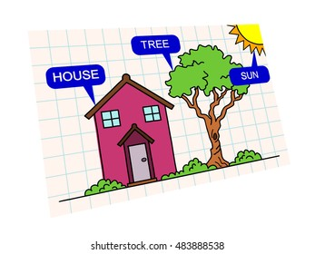 colorful illustration with three basic words for kids in english house tree and sun