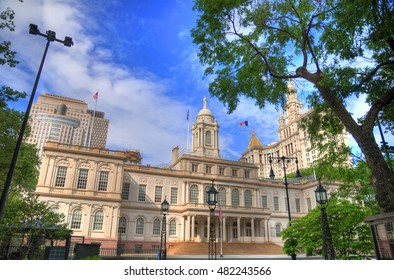 Colorful image of the famous New York City Hall, Lower Manhattan NYC during the summer of 2016