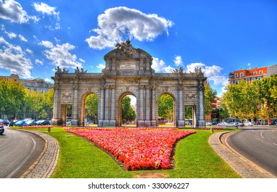 Colorful image of Puerta de Alcala (Alcala Gate) in Madrid, Spain in HDR (high dynamic range)