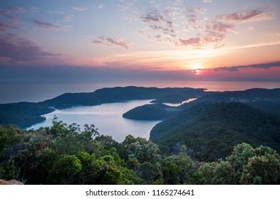 Colorful image of sunset at Mljet island in Croatia