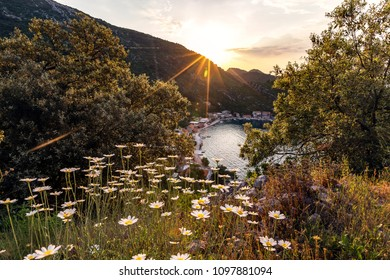 Colorful image of sunset in Prozurska luka,Island Mljet