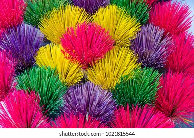 Colorful incense stick sold on the street in Hue, Vietnam.
