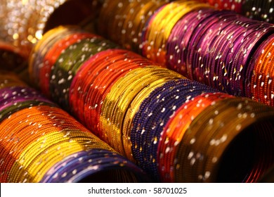 Colorful indian bangles with shallow depth of field.