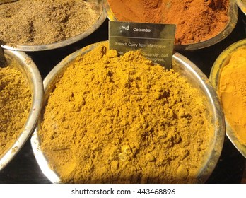 Colorful Indian spices and herbs at NYC market