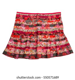 Colorful indian style patchwork skirt isolated on white background.