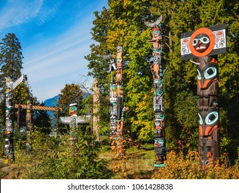 Colorful indian totems in stanley park vancouver canada