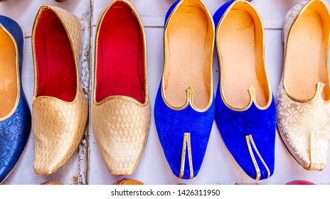 Colorful Indian  traditional shoes in India