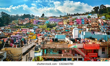 Colorful indian village in the mountains of Tamilnadu state in India