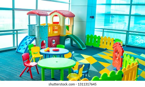 colorful indoor playground in a public place