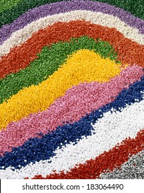Colorful industrial plastic granules background