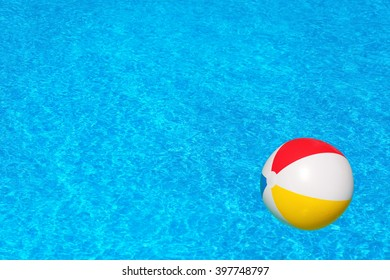 Colorful inflatable ball floating in the swimming pool, summer vacation concept