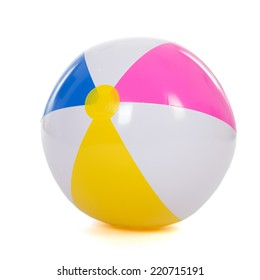 colorful inflatable beach ball isolated over white background