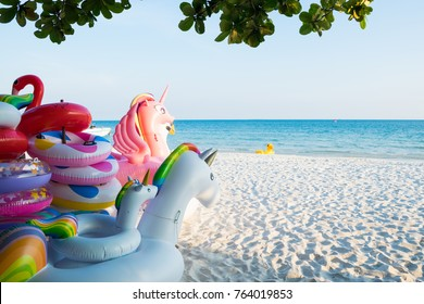 Colorful Inflatable Floating  on the beach