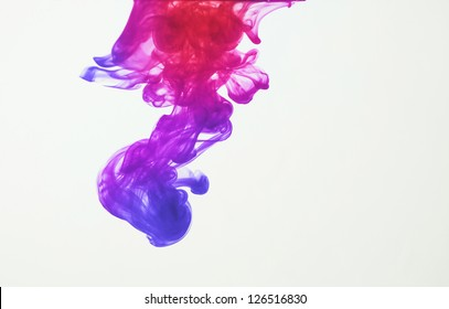 Colorful ink: blue, purple, pink and red