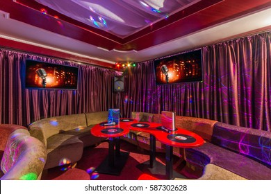 Colorful interior of bright and beautiful karaoke club