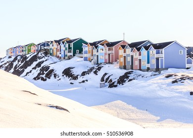 Colorful Inuit houses in Nuuk built on the rocks