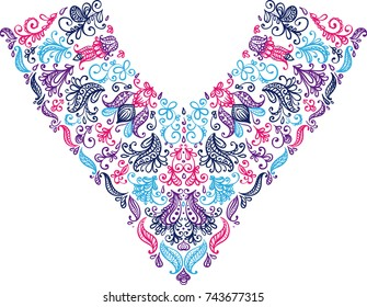 colorful isolated collar neck lace embroidery textile floral leaves dots doodle ornament on white