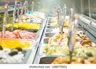 Colorful Italian Gelato in a shop display