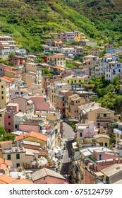 colorful Italian houses in Riomaggiore, Cinque Terre