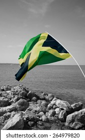 Colorful jamaican flag over black and white seascape