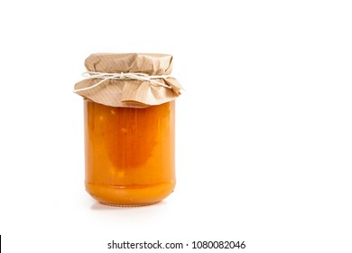 Colorful jams in glass jars isolated on white background.