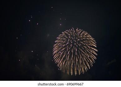 Colorful Japan fireworks in Kobe