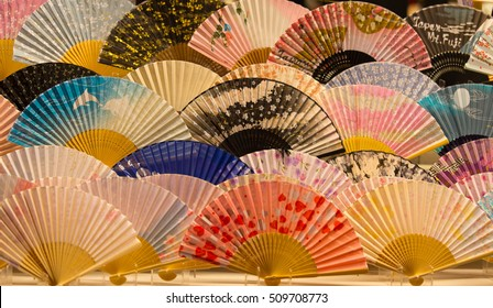 colorful japanese traditional fans, shallow depth of field