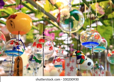 Colorful Japanese wind chimes , Summer feature of Japan