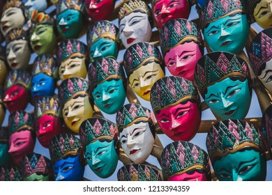 Colorful Javanese traditional face mask (Topeng Wayang) in Jogjakarta, Indonesia
