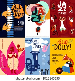 Colorful jazz festival musicians singers and musical instruments poster set flat isolated  illustration